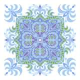 Hand drawing zentangle mandala color element. Italian majolica style Royalty Free Stock Images
