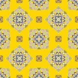 Hand drawing zentangle mandala color seamless parteern. Italian majolica style Royalty Free Stock Photo