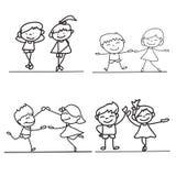Hand drawings cartoon happy kid Stock Images