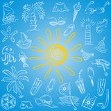 Hand Drawings of Summer Symbols. Children Drawings of Boats, Ice cream, Palms, Hat, Umbrella, Jellyfish, Cocktail, Sun on Blue. Royalty Free Stock Photo