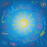 Hand Drawings of Summer Symbols and Sun on Blue Background. Vector Illustration Stock Photo