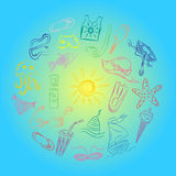 Hand Drawings of Summer Vacancies Symbols. Colorful Doodle Boats, Ice cream, Palms, Hat, Umbrella, Jellyfish, Cocktail, Sun Arrang Stock Image