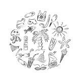 Hand Drawings of Summer Vacancies Symbols. Doodle Boats, Ice cream, Palms, Hat, Umbrella, Jellyfish, Cocktail, Sun Arranged in a C Royalty Free Stock Photos