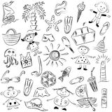 Hand Drawings of Summer Vacancies Symbols. Doodle Boats, Ice cream, Palms, Hat, Umbrella, Jellyfish, Cocktail, Sun and Kids. Royalty Free Stock Image