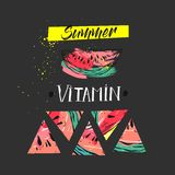 Hand drawm vector funny summer unusual background with abstract watermelon,freehand textures and modern handwritten Royalty Free Stock Image