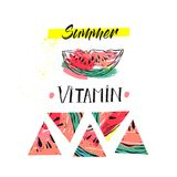 Hand drawm vector funny summer unusual background with abstract watermelon,freehand textures and modern handwritten Stock Photography