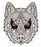 Hand-drawn σκυλί γεροδεμένο με το εθνικό floral σχέδιο doodle Χρωματίζοντας σελίδα - zendala, σχέδιο για τη χαλάρωση και την περι στοκ φωτογραφία με δικαίωμα ελεύθερης χρήσης
