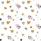 Hand-drawn άνευ ραφής σχέδιο doodle με τις καρδιές πρότυπο άνευ ραφής Στοκ εικόνες με δικαίωμα ελεύθερης χρήσης