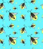 Hand-drawn άνευ ραφής σχέδιο ζωύφιων κινούμενων σχεδίων fireflies Στοκ Εικόνες