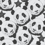 Hand-drawn άνευ ραφής υπόβαθρο σχεδίων με το panda και το αστέρι Στοκ Φωτογραφία