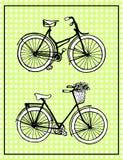 hand-drawn απεικονίσεις εκλεκτής ποιότητας ποδήλατα 8 επίσης το σημείο eps καρτών περιλαμβάνει τον τρύγο Πόλκα Στοκ Εικόνες