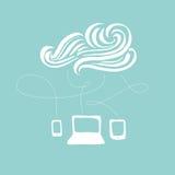 Hand-drawn απεικόνιση υπολογισμού σύννεφων Στοκ Εικόνες