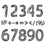 Hand-drawn αριθμοί Στοκ εικόνες με δικαίωμα ελεύθερης χρήσης