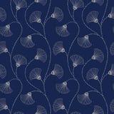 Hand-Drawn αφηρημένο Floral διανυσματικό άνευ ραφής σχέδιο κρέμας στο υπόβαθρο λουλακιού Ανθίσεις του Art Deco Αφηρημένα λουλούδι ελεύθερη απεικόνιση δικαιώματος