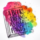 Hand-drawn βιβλίο σε ένα υπόβαθρο watercolor ελεύθερη απεικόνιση δικαιώματος