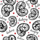 Hand-drawn διανυσματικό άνευ ραφής σχέδιο έργου τέχνης γραμμικά pretzels ύφους Εκλεκτής ποιότητας αρτοποιείο, γραφικά στοιχεία τρ απεικόνιση αποθεμάτων