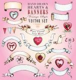 Hand-Drawn διανυσματικό σύνολο καρδιών και εμβλημάτων Στοκ εικόνα με δικαίωμα ελεύθερης χρήσης