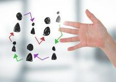 Hand-drawn εικονίδια σχεδιαγράμματος ανθρώπων με το ανοικτό χέρι Στοκ εικόνα με δικαίωμα ελεύθερης χρήσης
