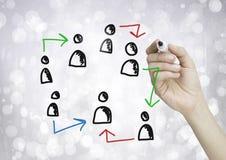 Hand-drawn εικονίδια σχεδιαγράμματος ανθρώπων με το γράψιμο χεριών Στοκ Εικόνες