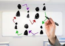 Hand-drawn εικονίδια σχεδιαγράμματος ανθρώπων με το γράψιμο χεριών Στοκ Εικόνα