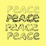 Hand-drawn ειρήνη λέξης 4 παραλλαγές Στοκ Εικόνες