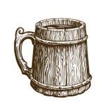 Hand-drawn εκλεκτής ποιότητας ξύλινη κούπα της μπύρας τεχνών Η αγγλική μπύρα, παρασκευάζει, πίνει το σύμβολο Διανυσματική απεικόν διανυσματική απεικόνιση