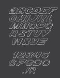 Hand-drawn επιστολές ABC, που απομονώνονται στο μαύρο υπόβαθρο Συρμένη χέρι τρισδιάστατη πηγή μελανιού, φοβιτσιάρης και grunge αλ Στοκ Εικόνες