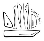 Hand-drawn εργαλεία αγγειοπλαστικής Στοκ εικόνες με δικαίωμα ελεύθερης χρήσης