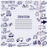 Hand-drawn διάνυσμα αυτοκινήτων, ποδηλάτων και σκαφών doodle Στοκ Φωτογραφίες