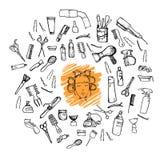 hand-drawn διανυσματική απεικόνιση Μέγα σύνολο - Hairdressing εργαλεία (s διανυσματική απεικόνιση