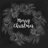 Hand-drawn κάρτα Χαρούμενα Χριστούγεννας στον πίνακα κιμωλίας Στοκ Φωτογραφία