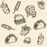 Hand-drawn καθορισμένη απεικόνιση γρήγορου φαγητού Διανυσματική απεικόνιση σκίτσων στοκ εικόνα