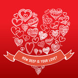 Hand-drawn καρδιές με την κορδέλλα Διανυσματική απεικόνιση