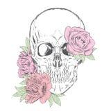 Hand-drawn κρανίο κρανίο λουλουδιών επίσης corel σύρετε το διάνυσμα απεικόνισης Στοκ εικόνες με δικαίωμα ελεύθερης χρήσης