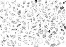 Hand-drawn μαύρο υπόβαθρο doodle Στοκ Φωτογραφίες