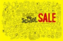 Hand-drawn πίσω στη σχολική κόκκινη πώληση Στοκ εικόνα με δικαίωμα ελεύθερης χρήσης