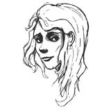 Hand-drawn πορτρέτο γυναικών Μίμηση σκίτσων Pancil Στοκ Φωτογραφίες