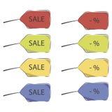 Hand-drawn πώληση ετικεττών και κόκκινο κίτρινο μπλε διάνυσμα ποσοστού με τη σκιά που απομονώνεται στο άσπρο σχέδιο υποβάθρου διανυσματική απεικόνιση