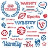 Hand-drawn στοιχεία σχολικού αθλητισμού Στοκ Εικόνες