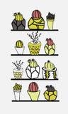 Hand-drawn συλλογή του κάκτου και succulents Διανυσματικό illustra Στοκ Εικόνες
