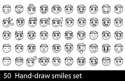 Hand-drawn σύνολο χαμόγελου Στοκ Φωτογραφία