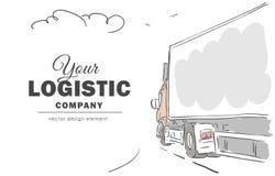 Hand-drawn φορτηγό παράδοσης στον τρόπο με το διάστημα για το κείμενο Στοκ Φωτογραφία