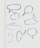 Hand-drawn, φυσαλίδες ομιλίας σε χαρτί σε ένα κλουβί Στοκ Φωτογραφίες