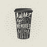 Hand-drawn φλιτζάνι του καφέ εγγράφου σκιαγραφιών με την εγγραφή Στοκ φωτογραφίες με δικαίωμα ελεύθερης χρήσης