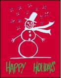 Hand-drawn χαιρετισμός χιονανθρώπων Στοκ εικόνες με δικαίωμα ελεύθερης χρήσης