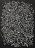 Hand-drawn χαρτοπαικτική λέσχη doodles κινούμενων σχεδίων, απεικόνιση παιχνιδιού Στοκ φωτογραφία με δικαίωμα ελεύθερης χρήσης