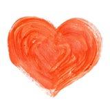 Hand-drawn χρωματισμένη κόκκινη καρδιά Στοκ Φωτογραφίες