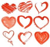 Hand-drawn χρωματισμένη κόκκινη καρδιά Στοκ Φωτογραφία