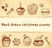 Απομονωμένες hand-drawn απεικονίσεις αρτοποιείων που τίθενται Στοκ Εικόνες