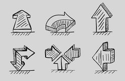 Hand drawn 3d arrows vector black icon set. Vector hand drawn arrow designs Stock Photo